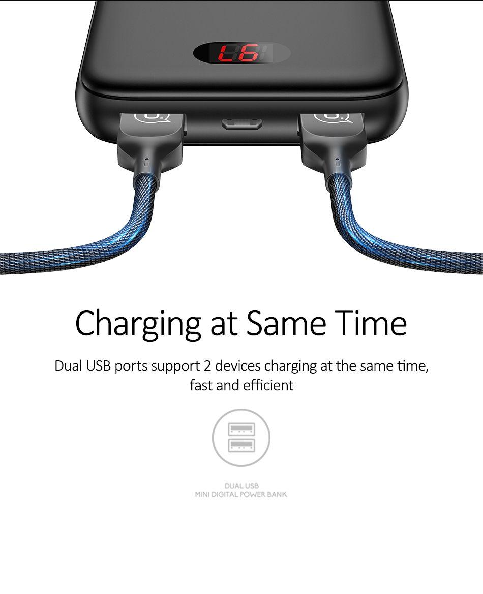 Usams Pb9 10000mah Dual Usb Mini Digital Power Bank (5)