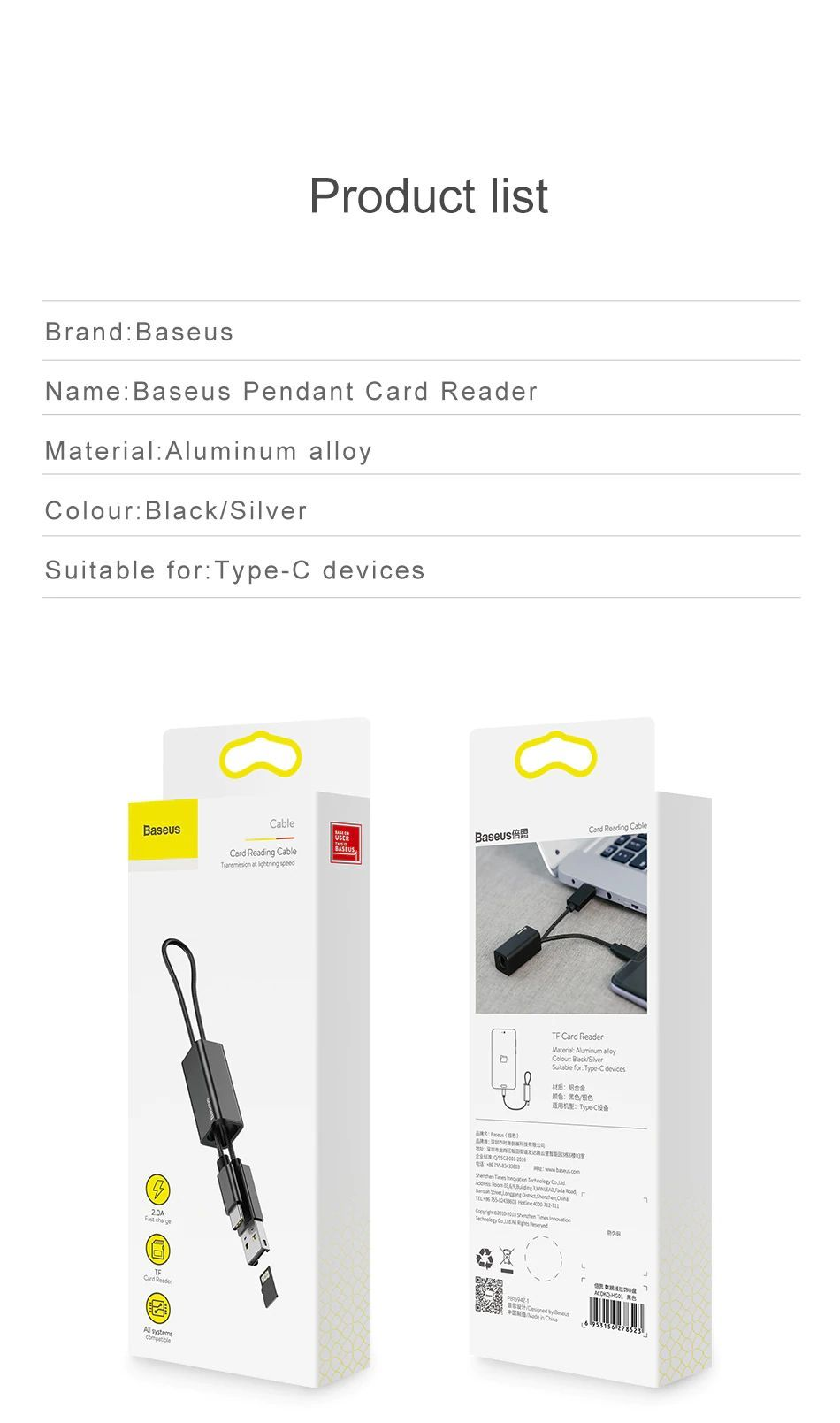 Baseus 2 In 1 Pendant Card Reader Otg Tf Card Reader Usb Type C Cable (1)