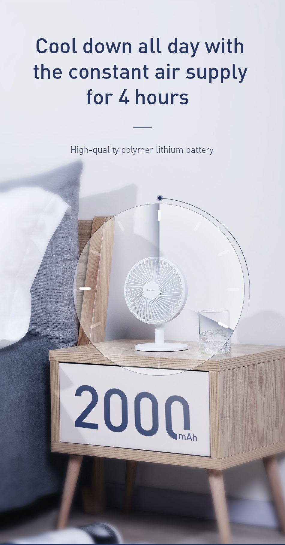 Baseus Ocean Fan 4 Wind Speeds Usb Rechargeable Air Cooling Fan (1)