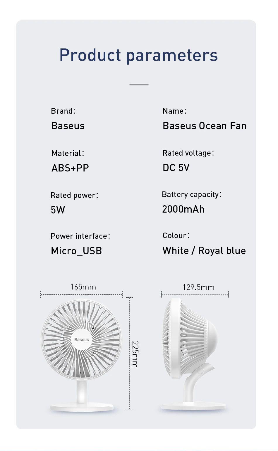 Baseus Ocean Fan 4 Wind Speeds Usb Rechargeable Air Cooling Fan (12)