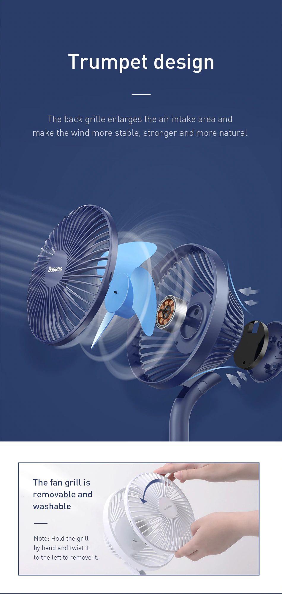 Baseus Ocean Fan 4 Wind Speeds Usb Rechargeable Air Cooling Fan (13)