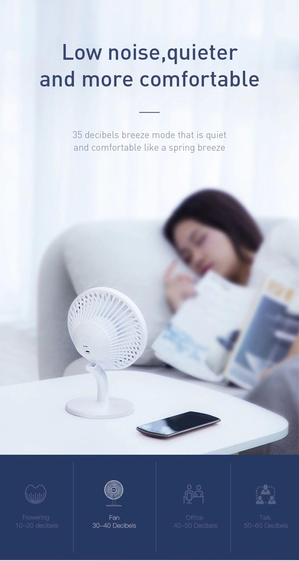 Baseus Ocean Fan 4 Wind Speeds Usb Rechargeable Air Cooling Fan (1) 1