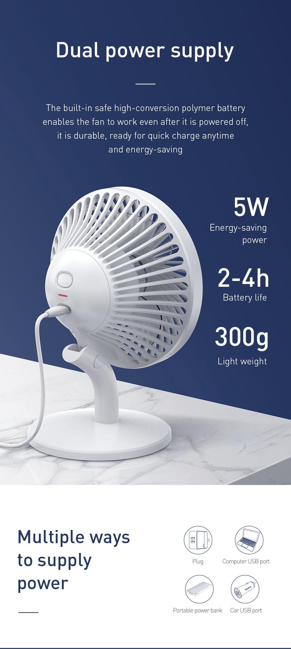 Baseus Ocean Fan 4 Wind Speeds Usb Rechargeable Air Cooling Fan (2)