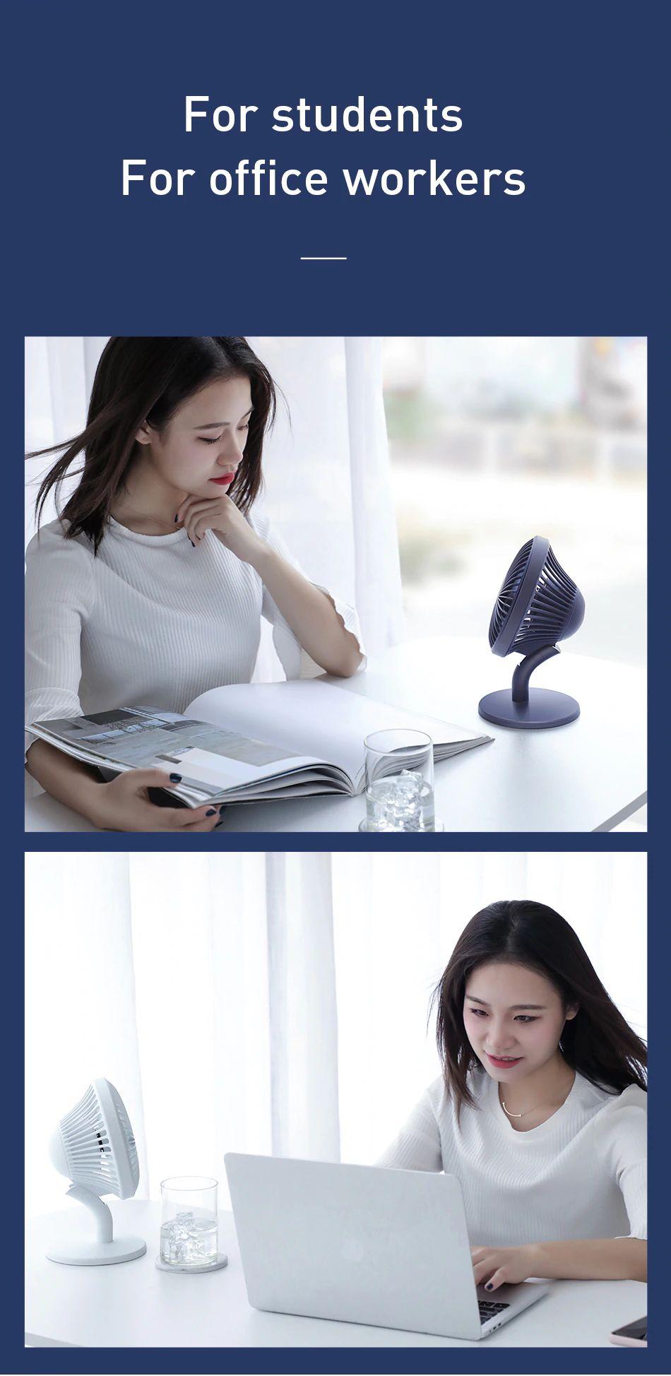 Baseus Ocean Fan 4 Wind Speeds Usb Rechargeable Air Cooling Fan (2) 1