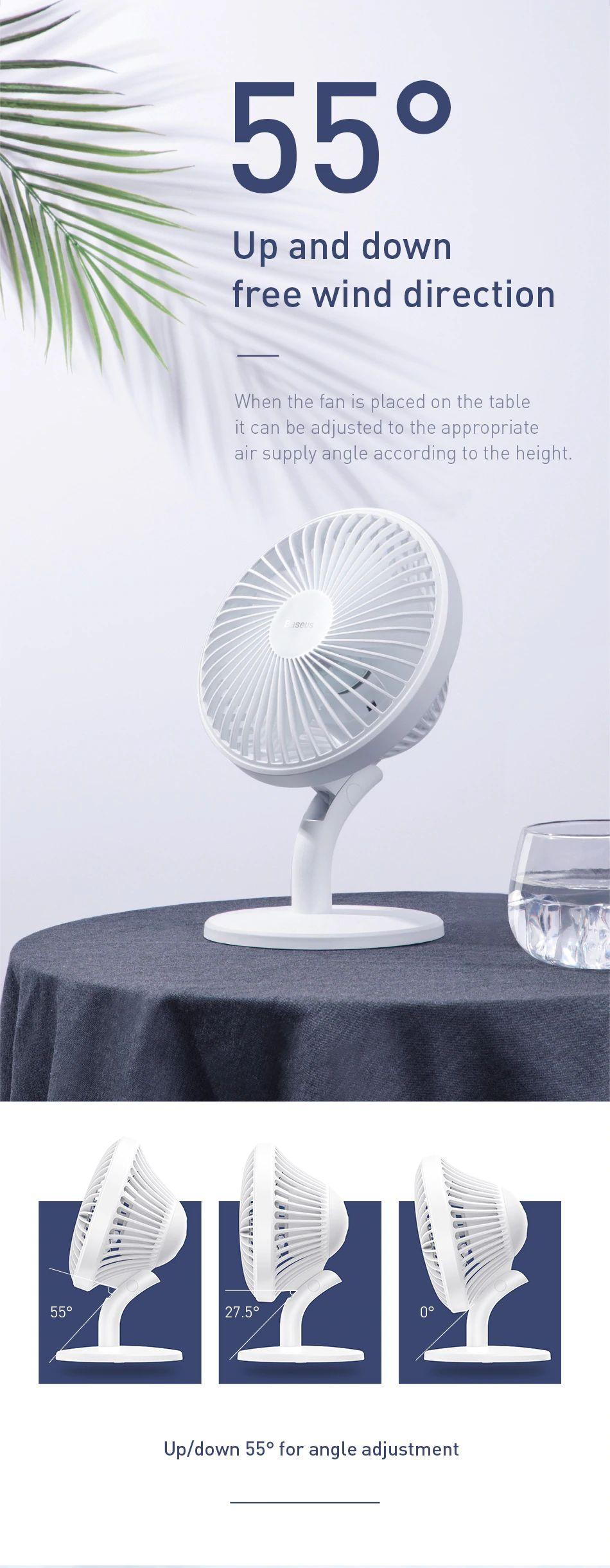 Baseus Ocean Fan 4 Wind Speeds Usb Rechargeable Air Cooling Fan (3) 1