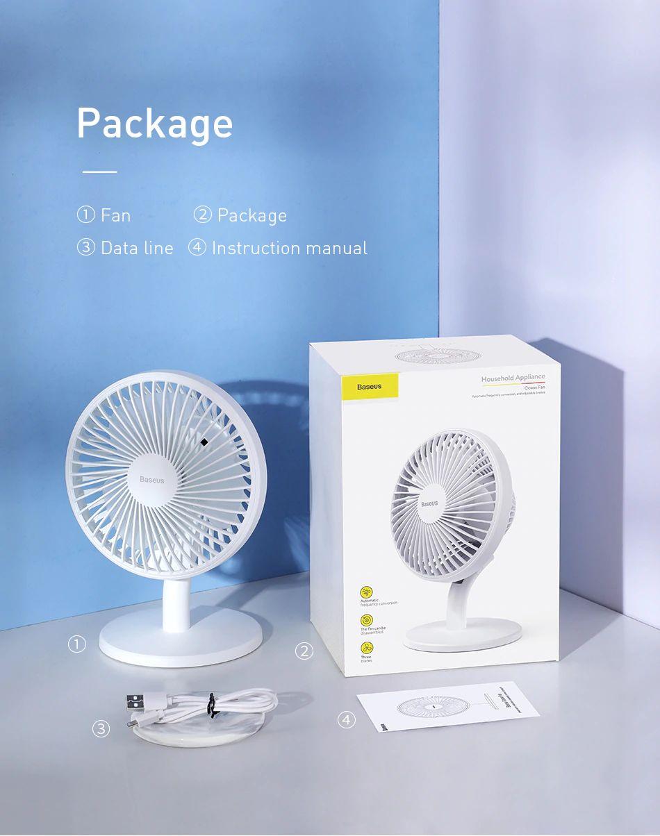 Baseus Ocean Fan 4 Wind Speeds Usb Rechargeable Air Cooling Fan (4) 1
