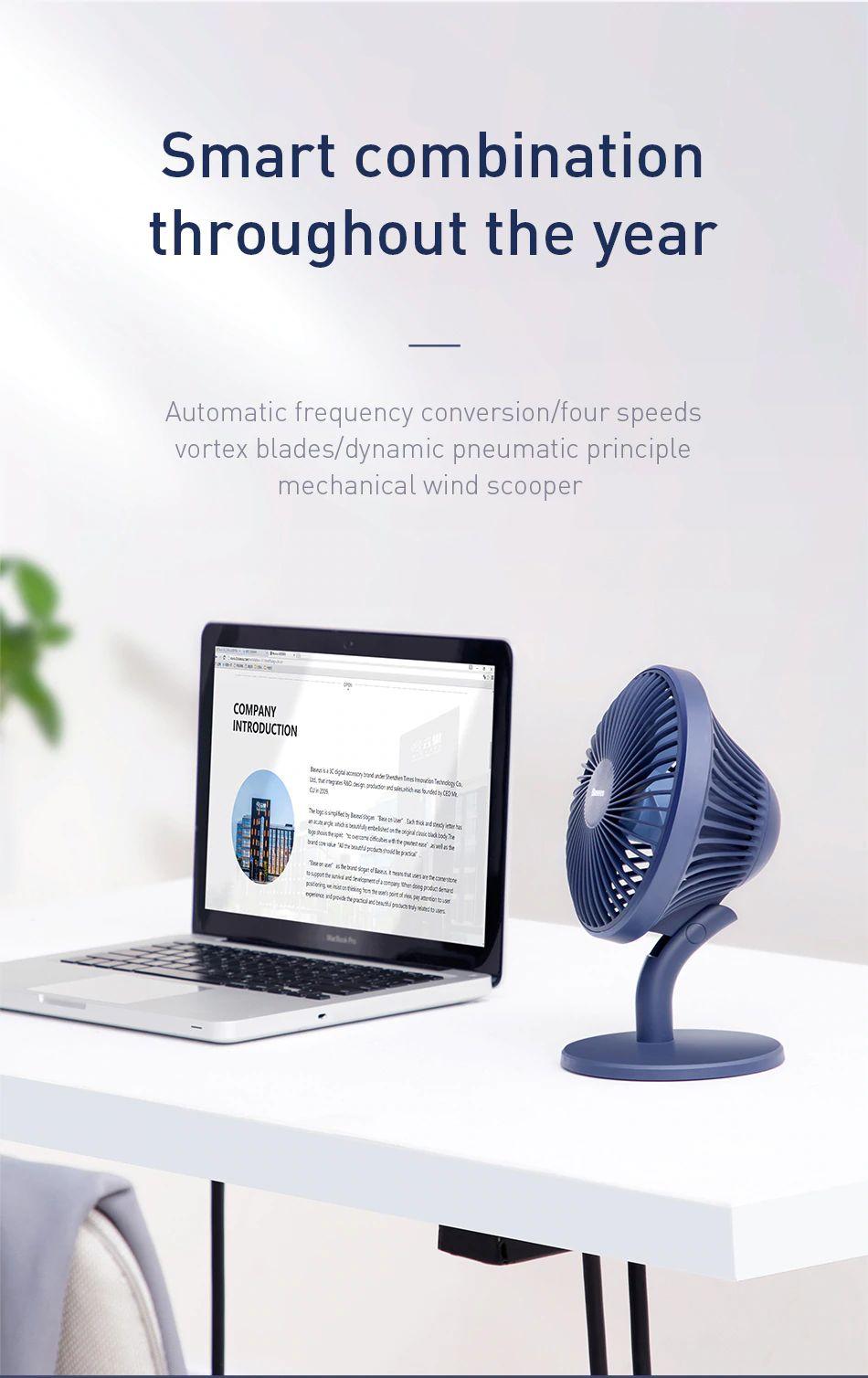 Baseus Ocean Fan 4 Wind Speeds Usb Rechargeable Air Cooling Fan (5) 1