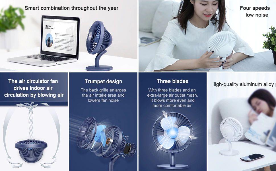 Baseus Ocean Fan 4 Wind Speeds Usb Rechargeable Air Cooling Fan (7)