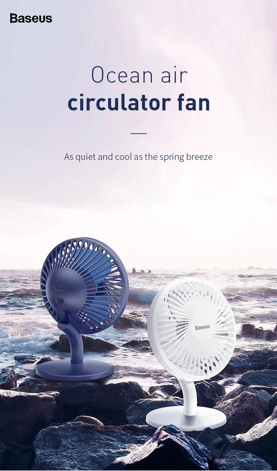 Baseus Ocean Fan 4 Wind Speeds Usb Rechargeable Air Cooling Fan (9)