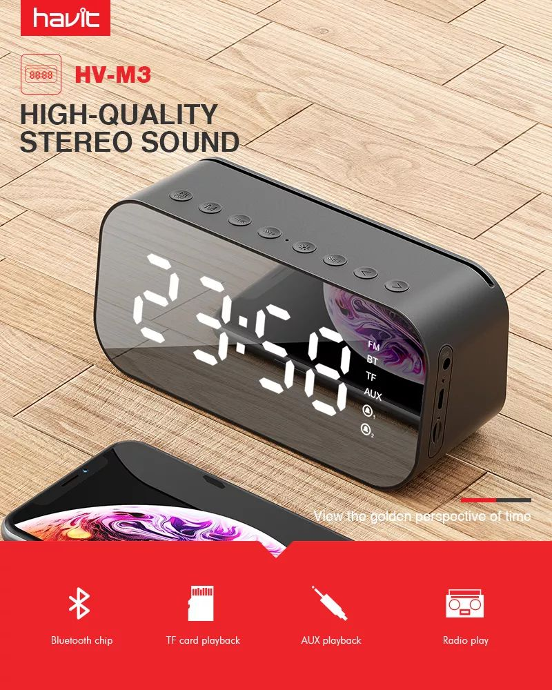 Havit M3 Wireless Bluetooth Speaker With Alarm Clock Radio (1)
