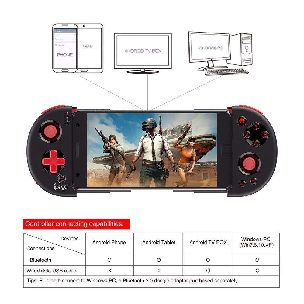 Ipega Pg 9087 Extendable Bluetooth Wireless Controller Gamepad Joystick For Ios Android Smartph (