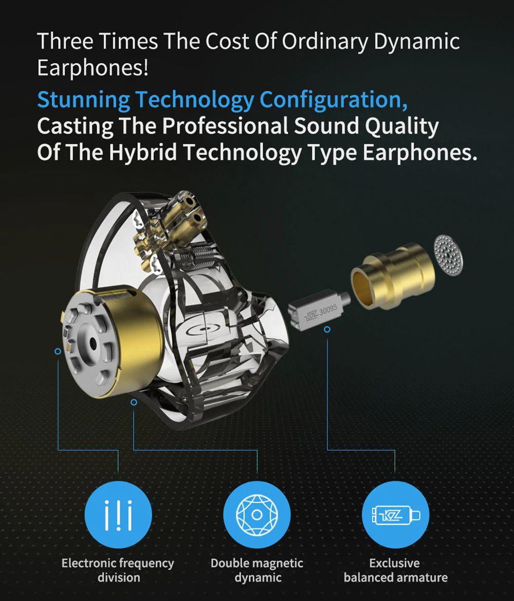 Kz Zsn Pro Hybrid Heavy Bass Earphones (2)
