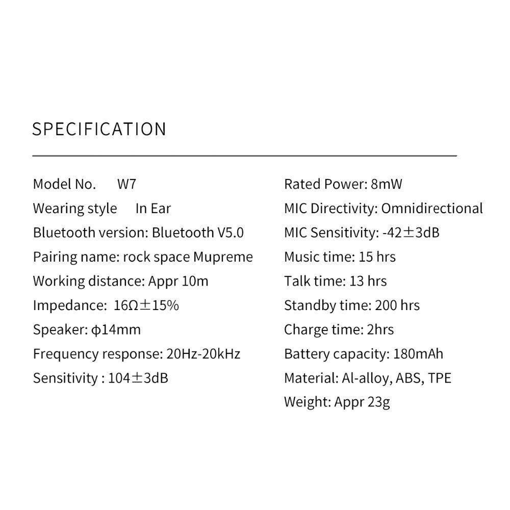 Rock W7 Mupreme Bluetooth Wireless Earphone (1)