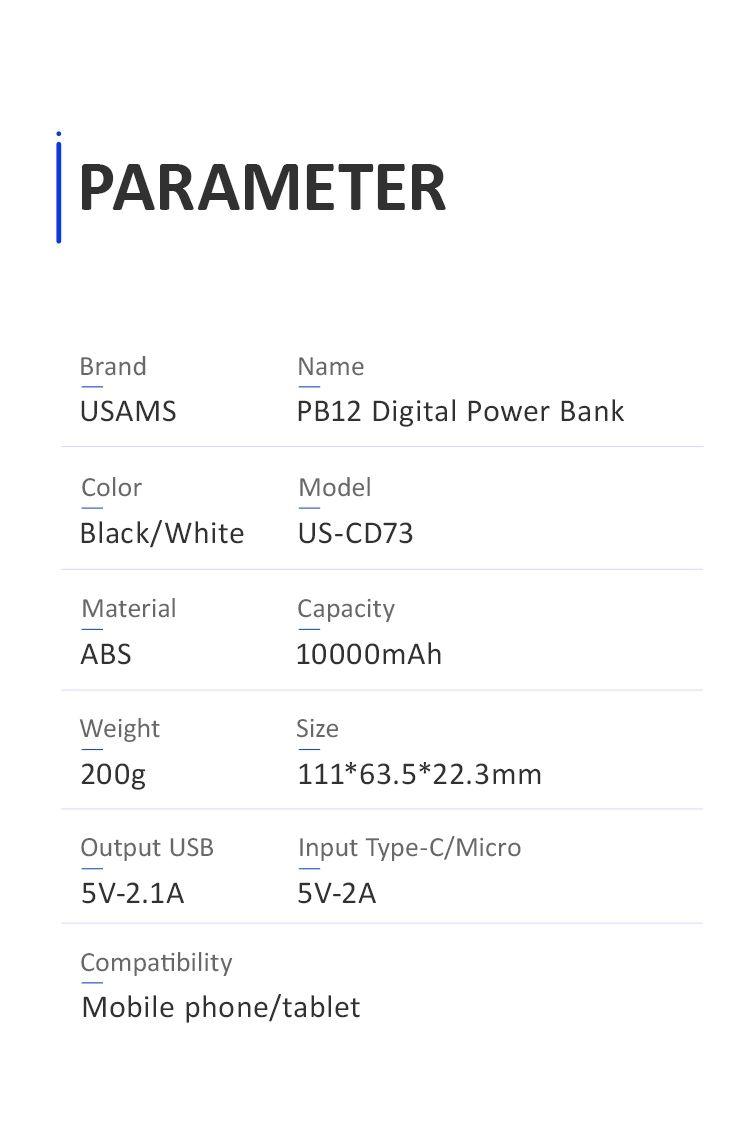 Usams Pb12 10000mah Led Display Power Bank (4)