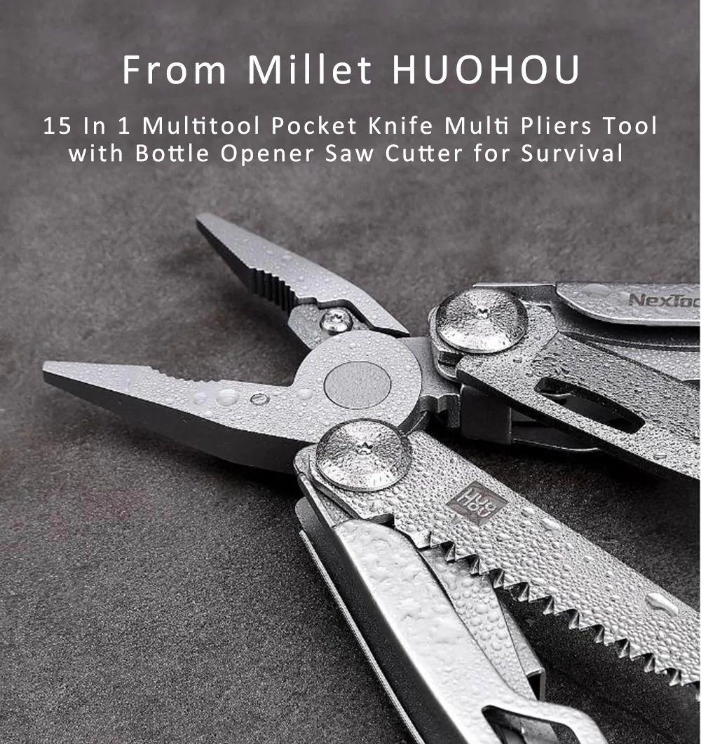 Xiaomi Huohou Multi Function Knife 15 Functions Folding Knife Bottle Opener Screwdriver Pliers (1)