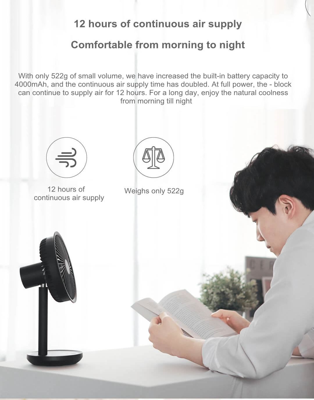Xiaomi Mijia Solove Usb Desktop Fan 4000mah Battery Capacity (5)