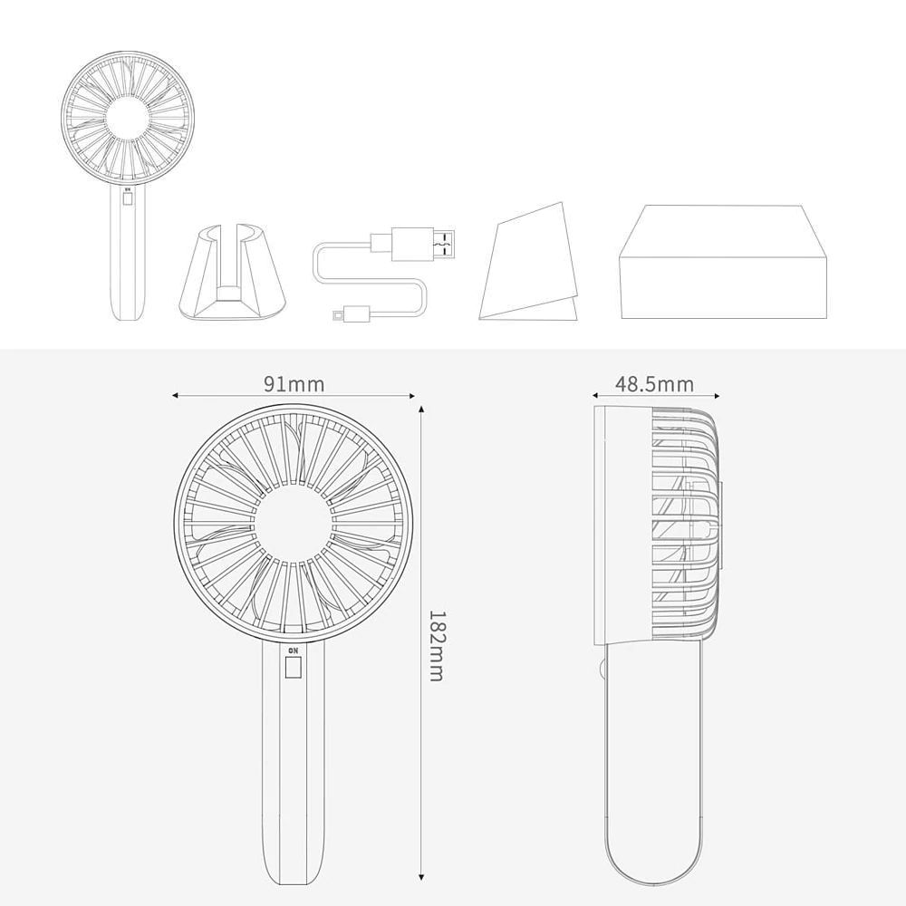 Xiaomi Vh Desk Stand Portable Handheld Rechargeable Fan (5)