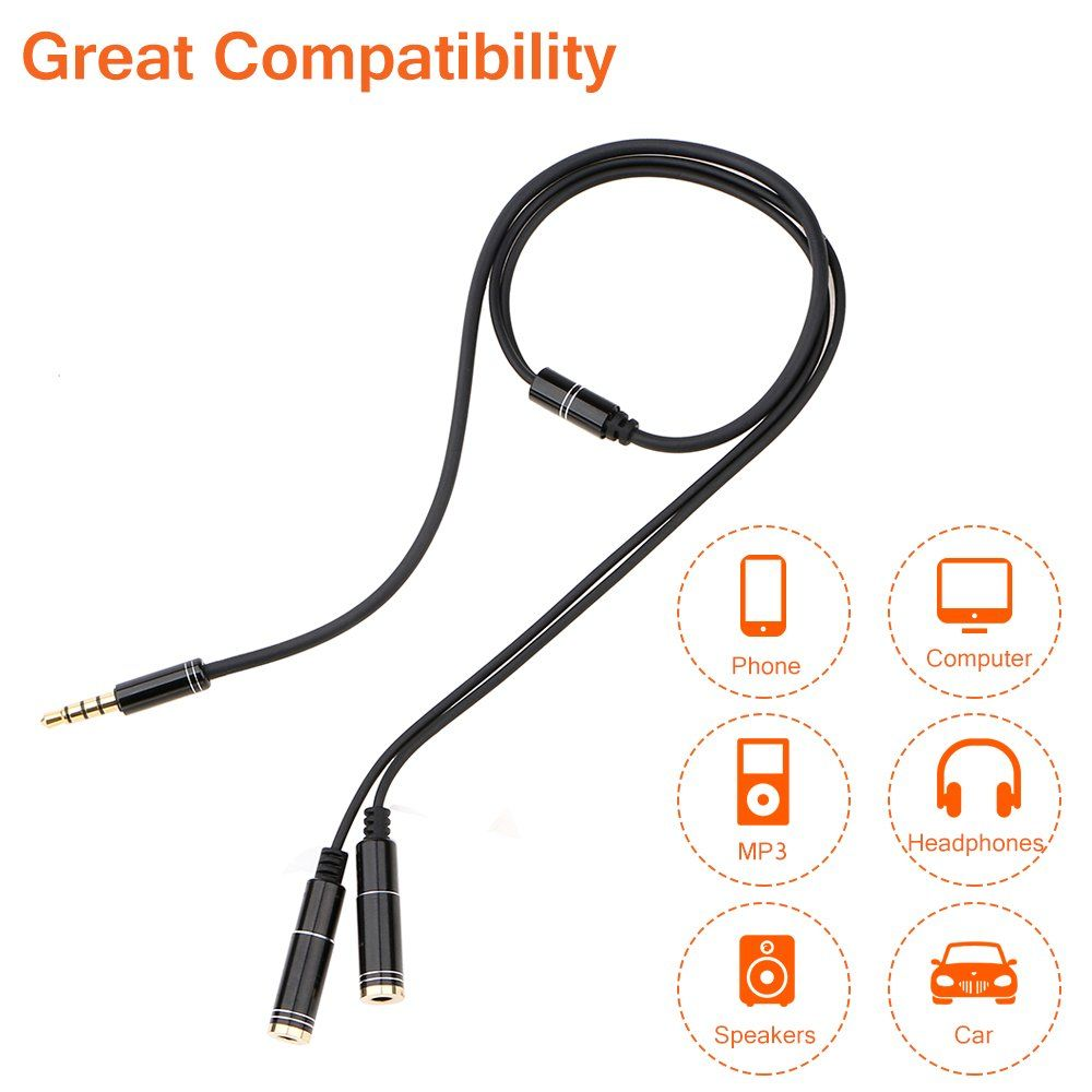 3 5mm 1 To 2 Couples Audio Cable Adapter Earphone Splitter (4)