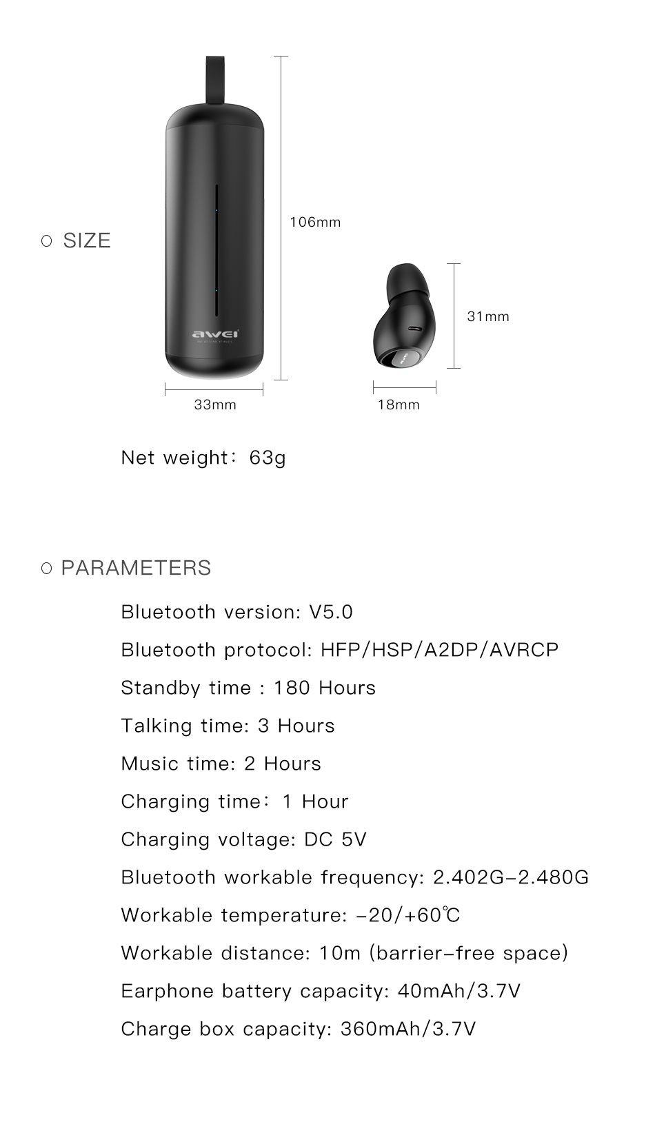 Awei T5 Tws Bluetooth Earphones (11)