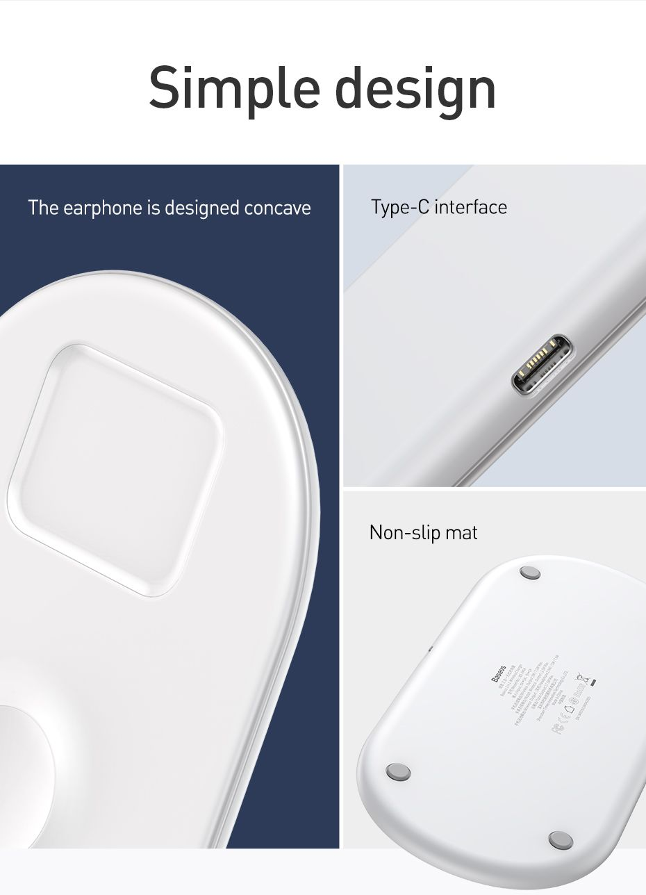 Baseus Smart 3 In 1 Qi Wireless Charger For Iphone Apple Watch Airpods (2)