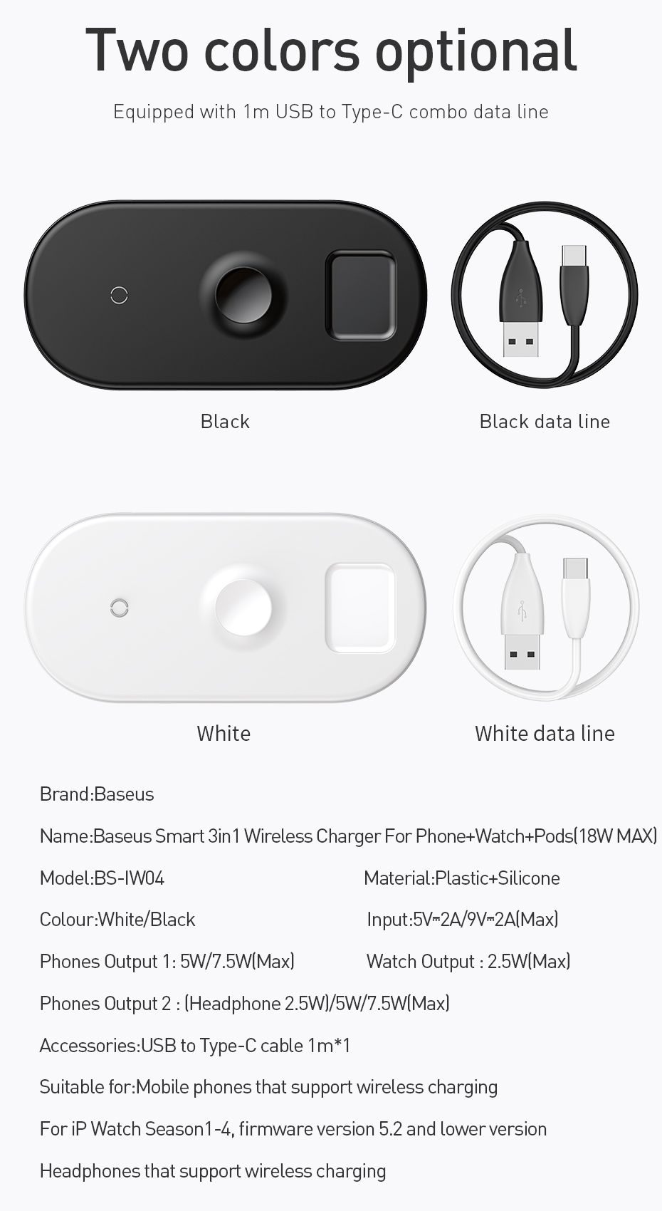 Baseus Smart 3 In 1 Qi Wireless Charger For Iphone Apple Watch Airpods (3)