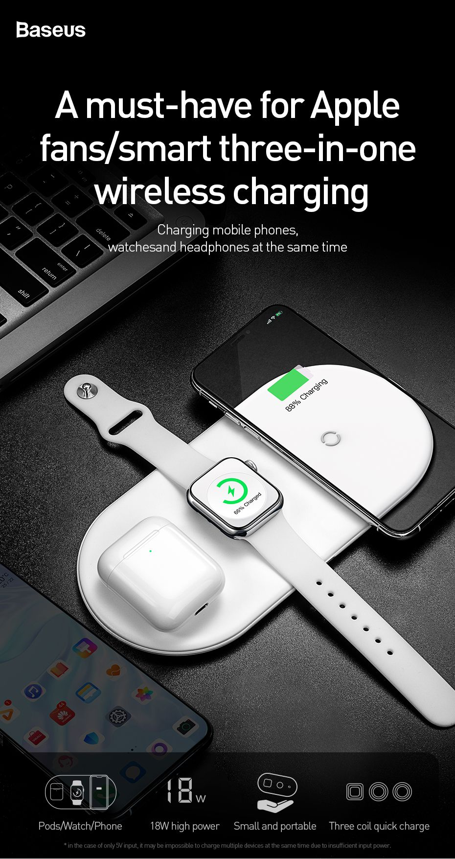 Baseus Smart 3 In 1 Qi Wireless Charger For Iphone Apple Watch Airpods (7)
