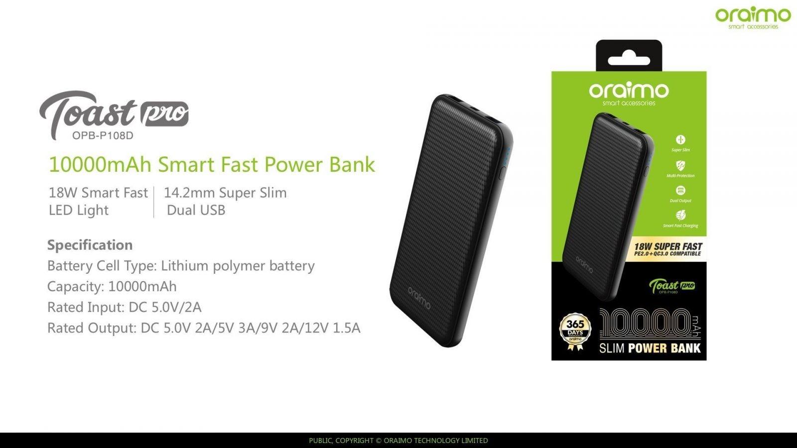 Oraimo Opb P108d Toast Pro 10000mah Smart Fast Charging Power Bank (11)