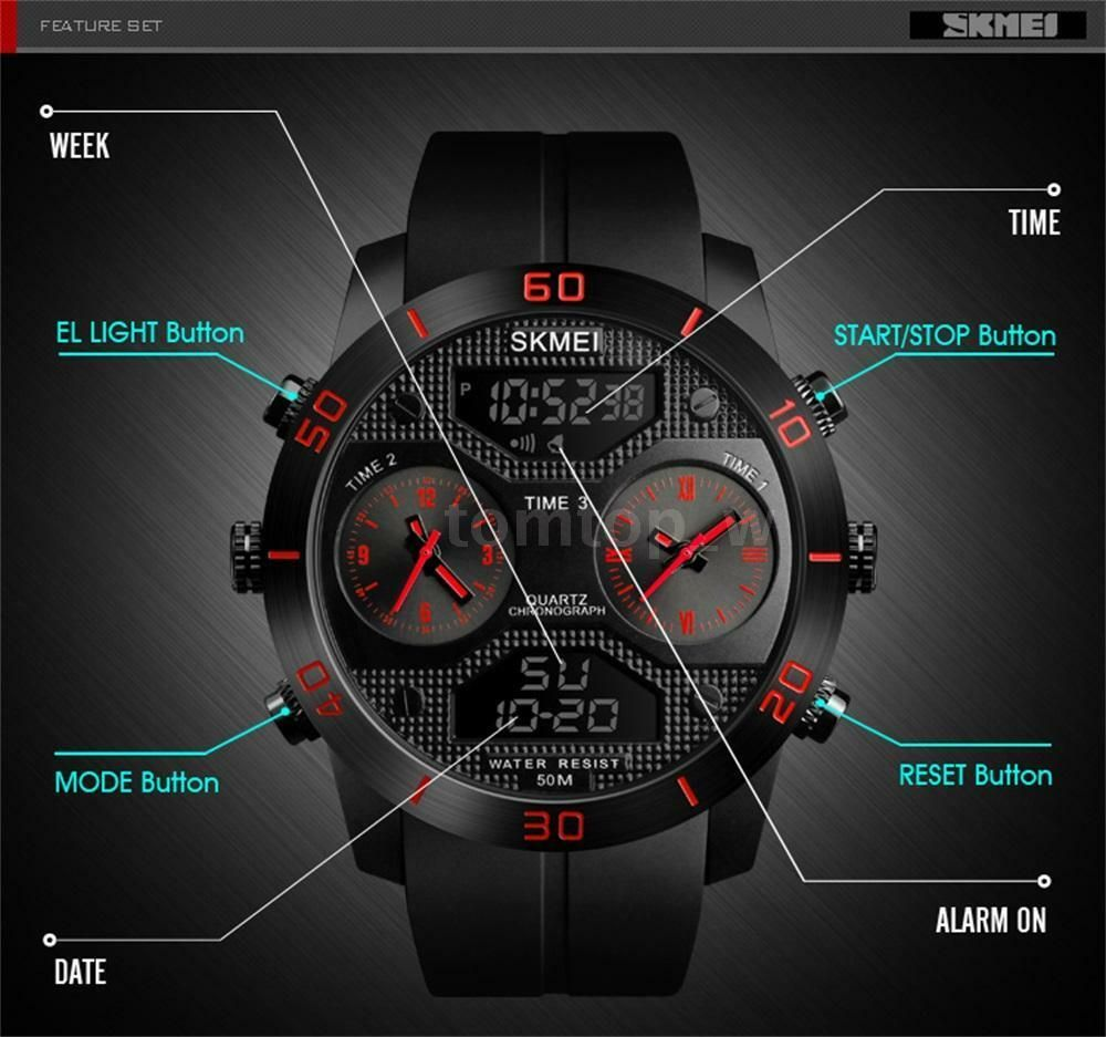 Skmei 1355 Waterproof Chronograph Digital Analog Watch (2)