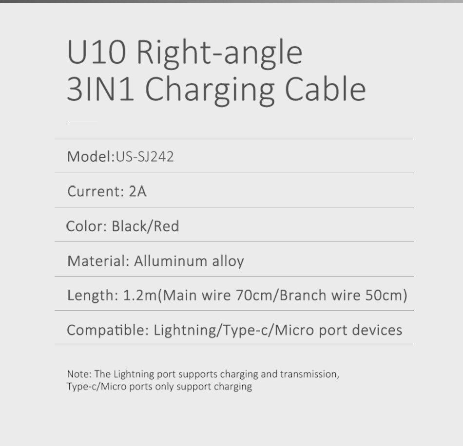Usams 3 In 1 Type C Micro Usb Lighting 90 Degree Cable (7)