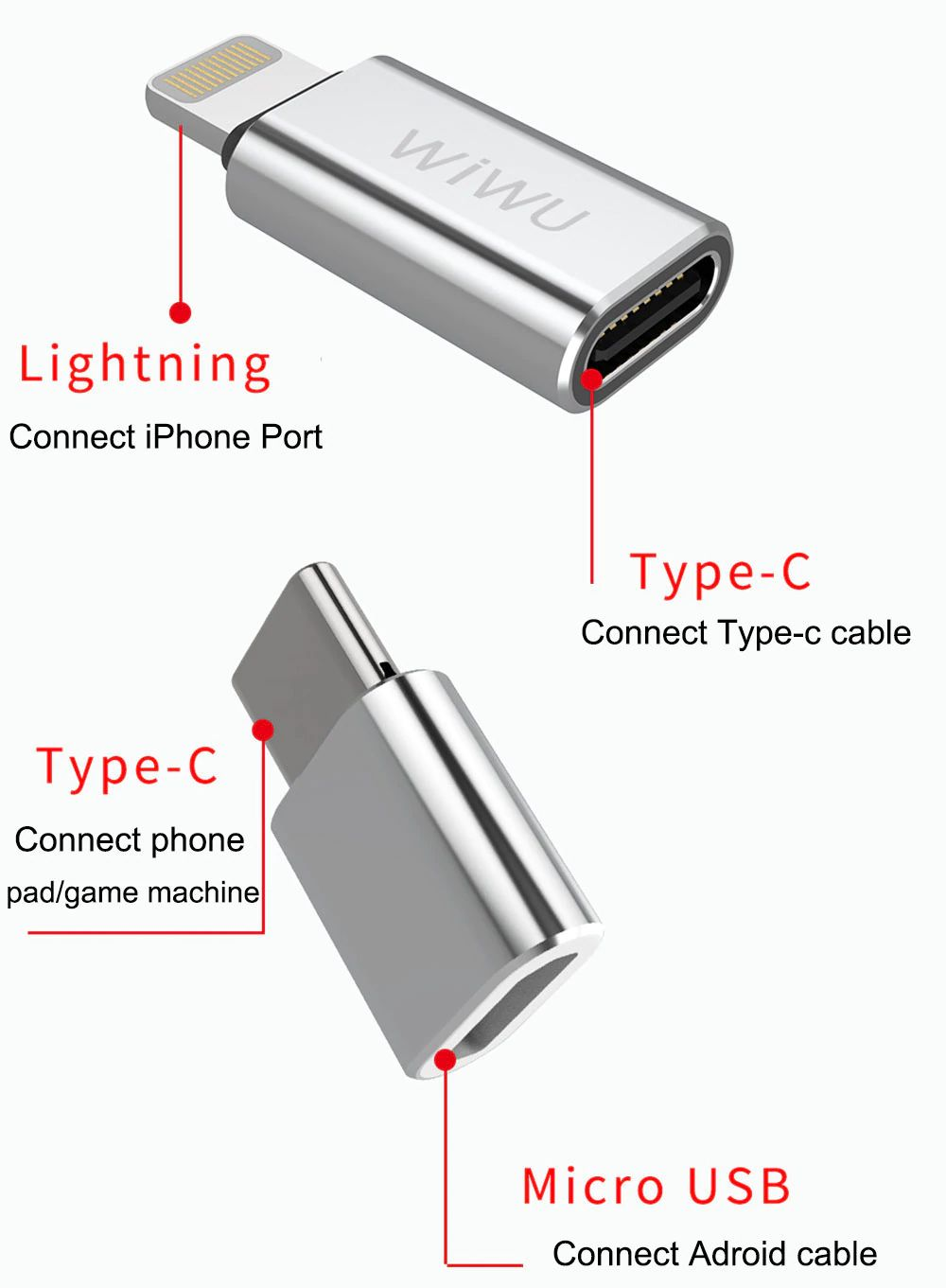 Wiwu Z600 Otg Cable Adapter For Iphone Android Converter (9)