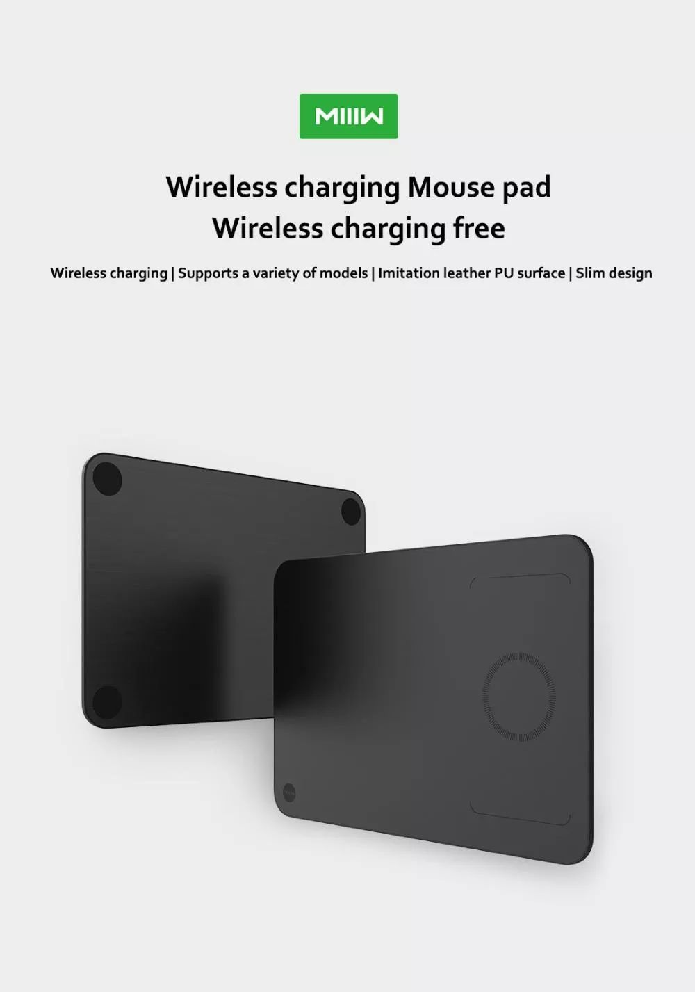 Xiaomi Miiiw Qi Wireless Charger Pu Leather Mouse Pad (1)