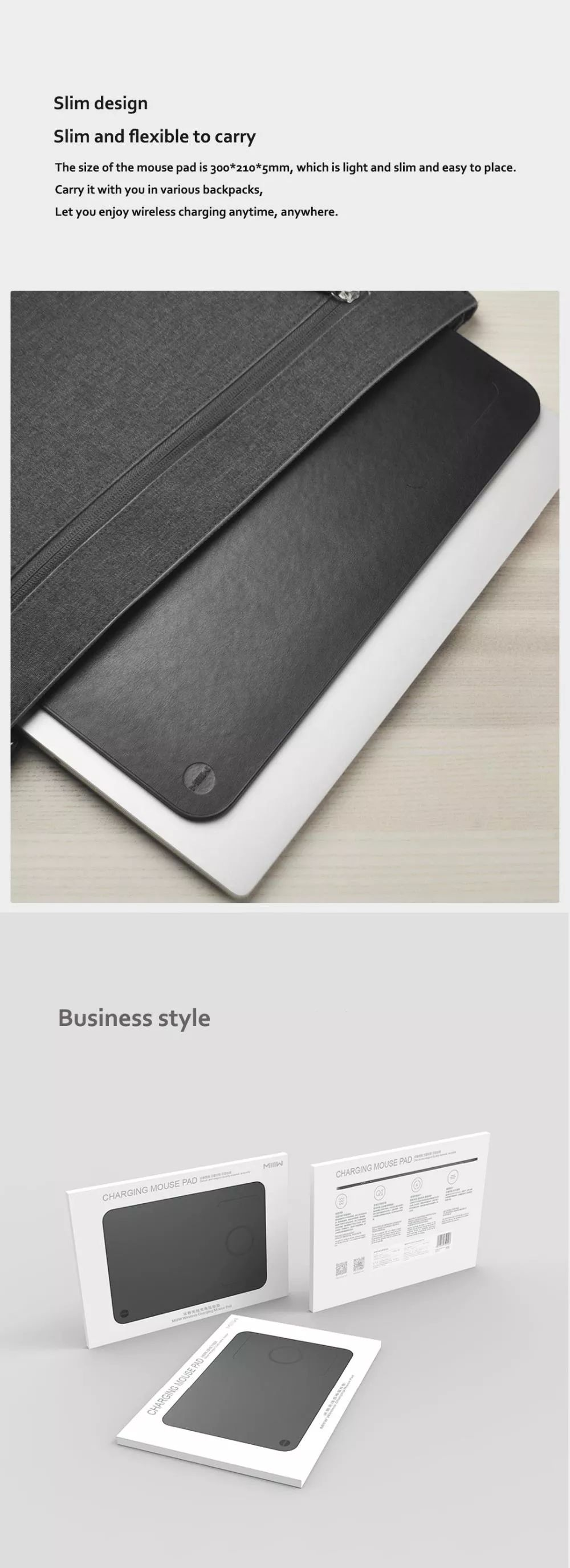 Xiaomi Miiiw Qi Wireless Charger Pu Leather Mouse Pad (3)
