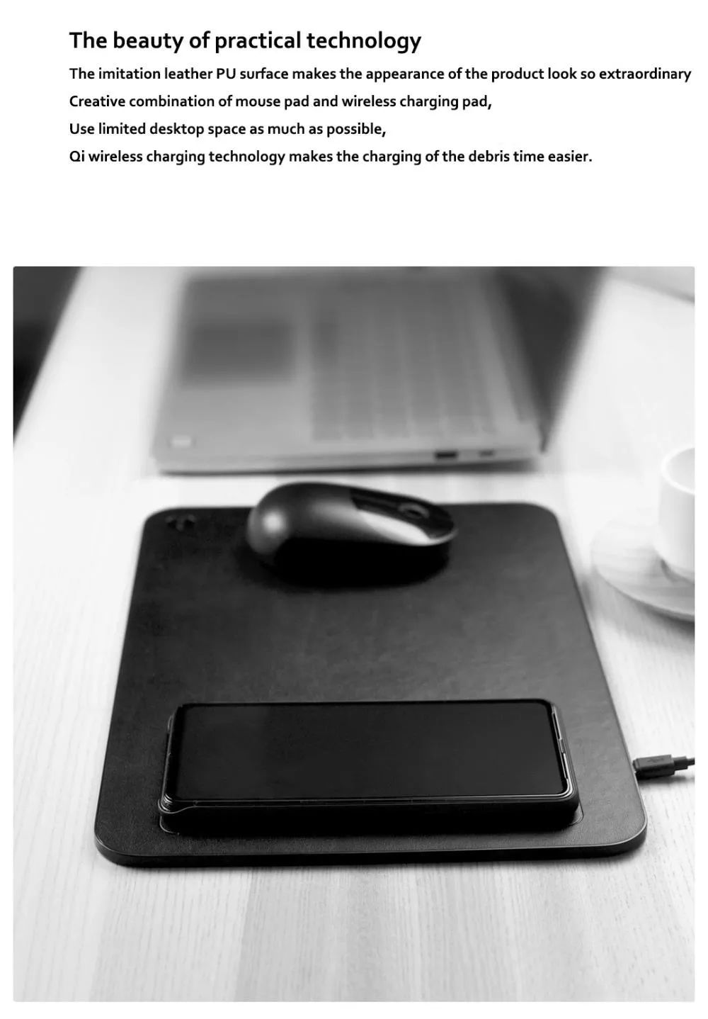 Xiaomi Miiiw Qi Wireless Charger Pu Leather Mouse Pad (6)