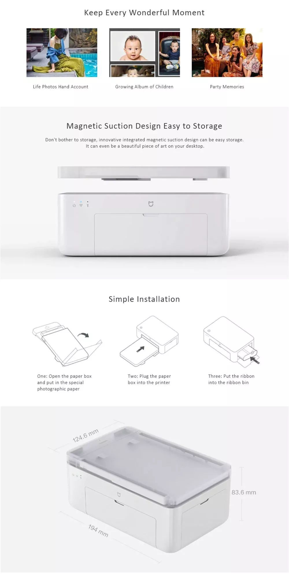 Xiaomi Mijia Smart Portable Wireless 6 Inch Photo Printer For Mobile Phone Pc (4)