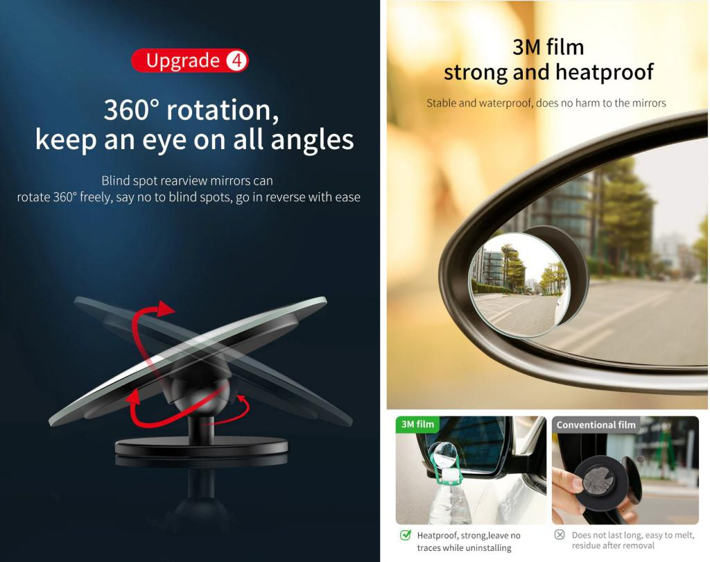 Baseus 2pcs 49mm Car Blind Spot Rearview Mirror (5)