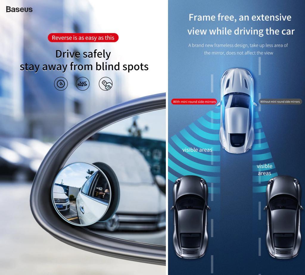Baseus 2pcs 49mm Car Blind Spot Rearview Mirror (6)