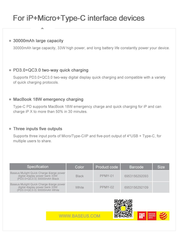 Baseus 30000mah Power Bank Dual Quick Charge 3 (12)