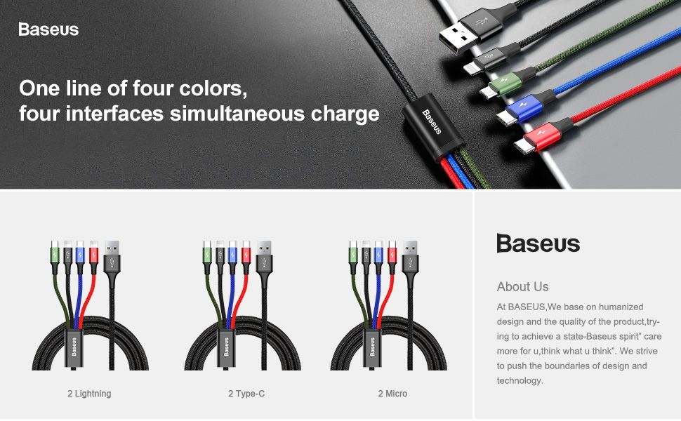 Baseus 4 In 1 Fast Charging Cable Lightning 2x Type C Micro Usb (1)