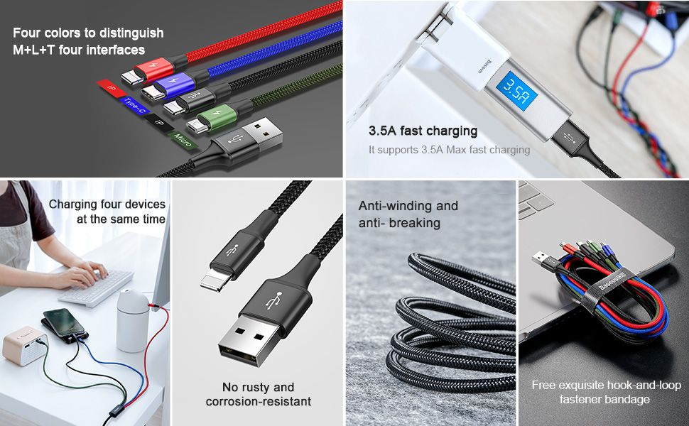 Baseus 4 In 1 Fast Charging Cable Lightning 2x Type C Micro Usb (2)