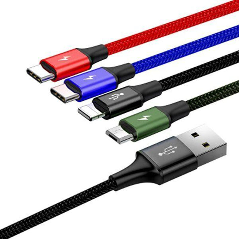 Baseus 4 In 1 Fast Charging Cable Lightning 2x Type C Micro Usb (5)