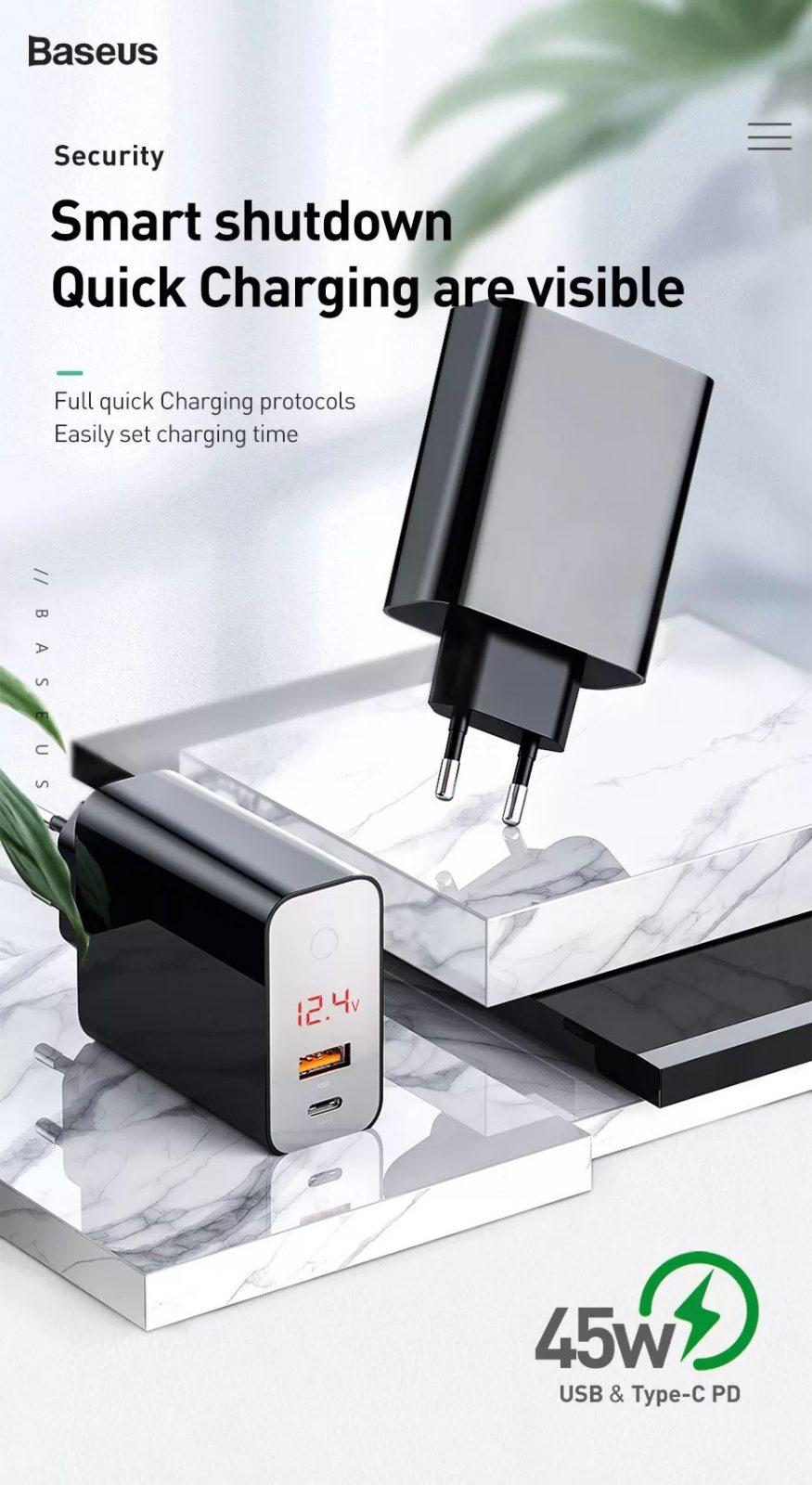 Baseus 45w Smart Shutdown Digital Display Quick Charger (5)