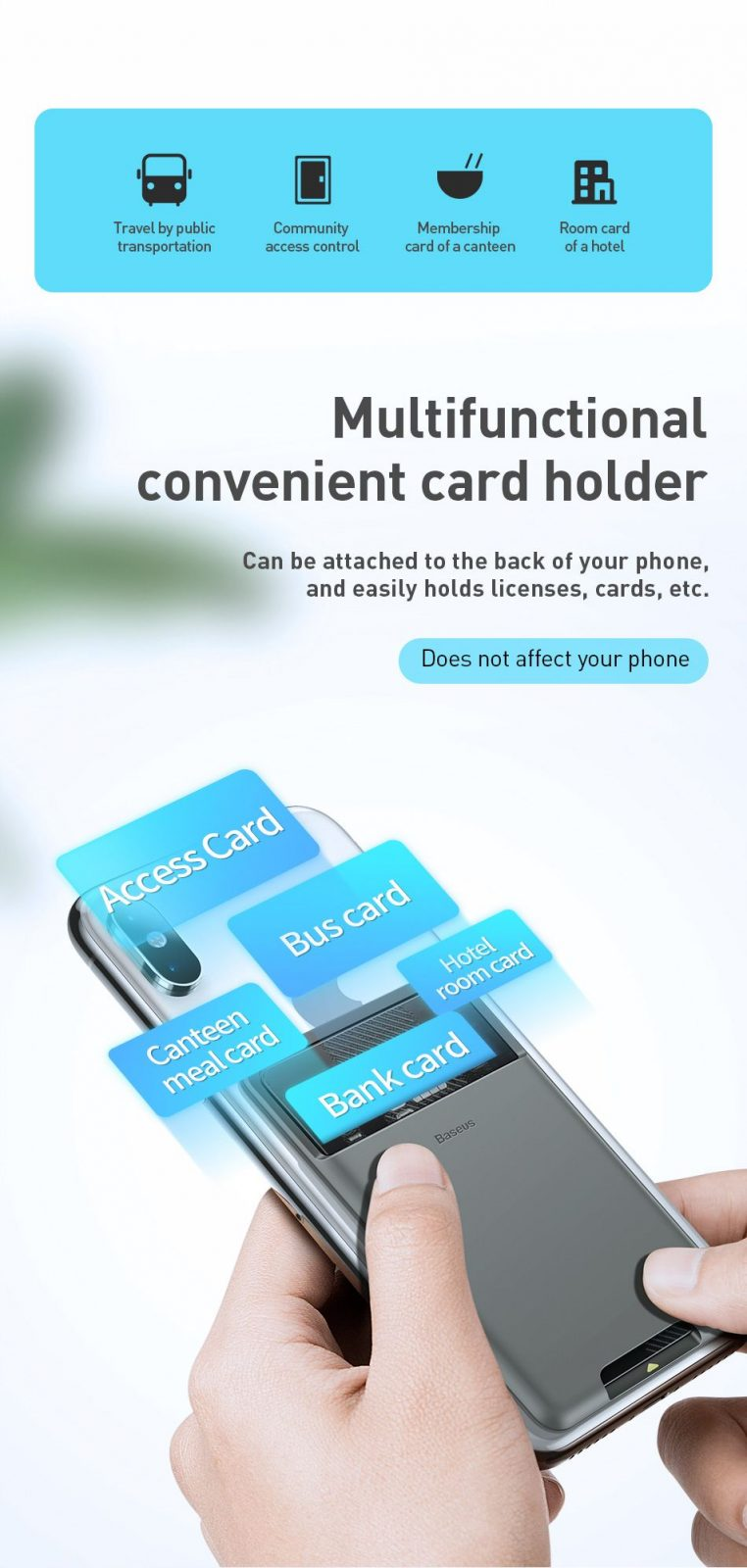 Baseus Back Stick Silicone Card Bag (4)