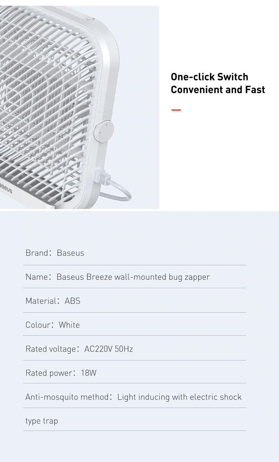 Baseus Breeze Wall Mounted Bug Zapper Electric Mosquito Killer Lamp (14)