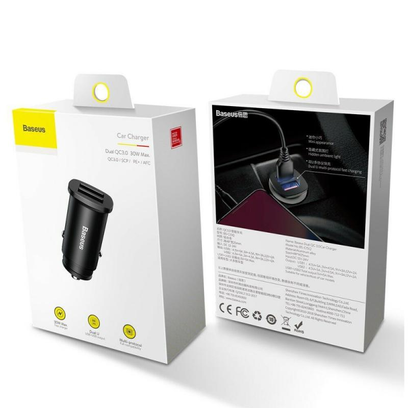 Baseus Dual Qc3 0 Ports Fast Car Charger With Led Light (6)