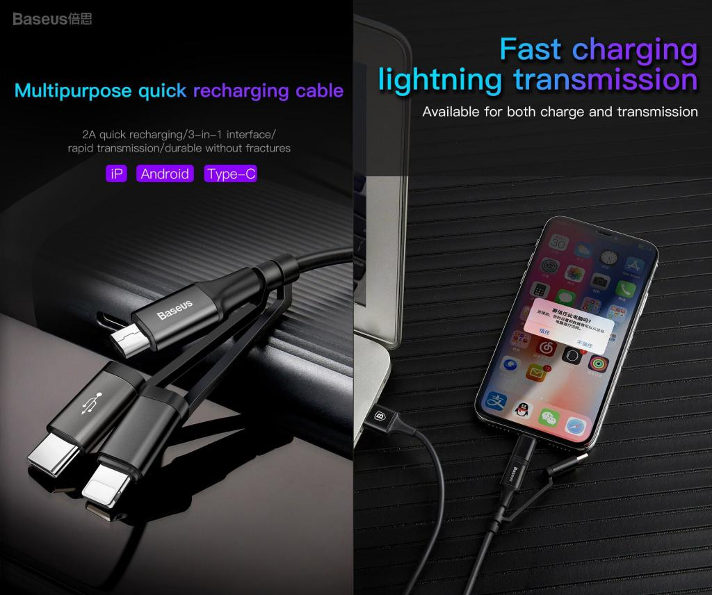 Baseus Excellent 3 In 1 Cable Lightning Type C Microusb (1)