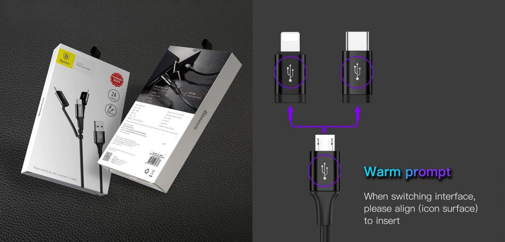 Baseus Excellent 3 In 1 Cable Lightning Type C Microusb (3)