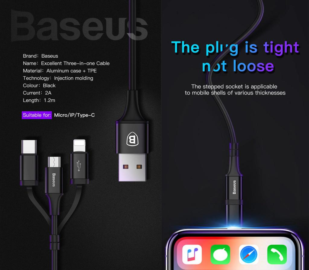 Baseus Excellent 3 In 1 Cable Lightning Type C Microusb (4)