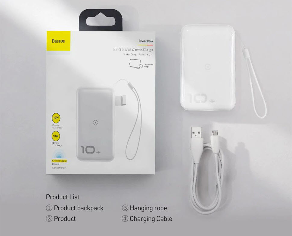 Baseus F10w Wireless Fast Charging Power Bank 10000mah Pd Quick Charge 3 (5)