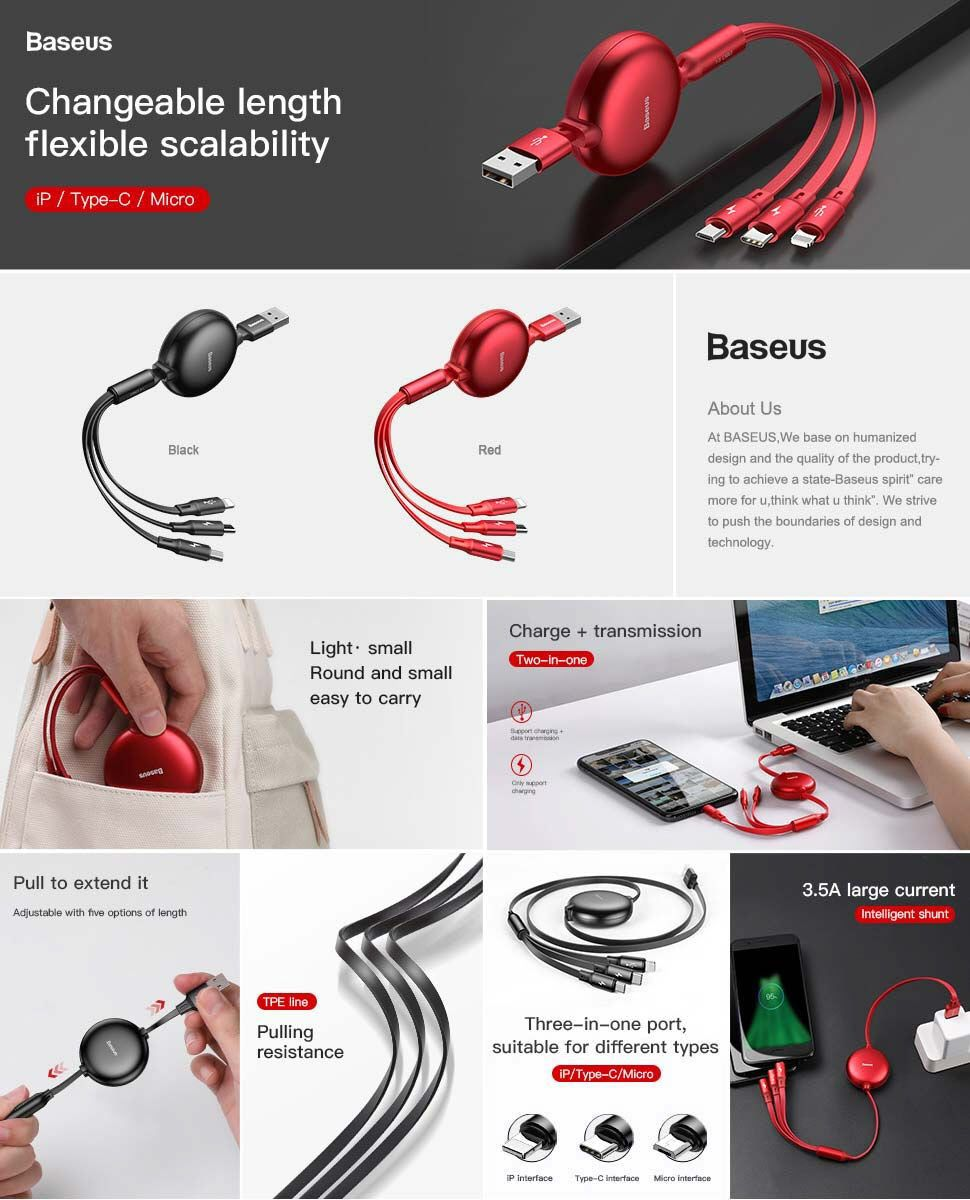 Baseus Little Octopus 3 In 1 Retractable Usb Cable Lightning Usb C Micro Usb (3)