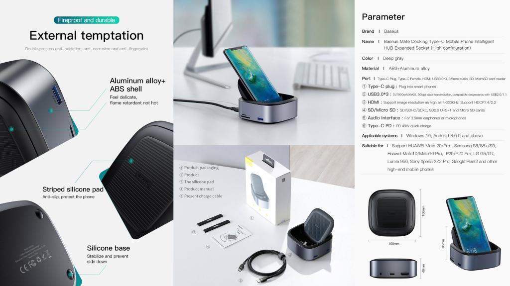 Baseus Mate Docking Type C Mobile Phone Intelligent Hub Expanded Socket (5)